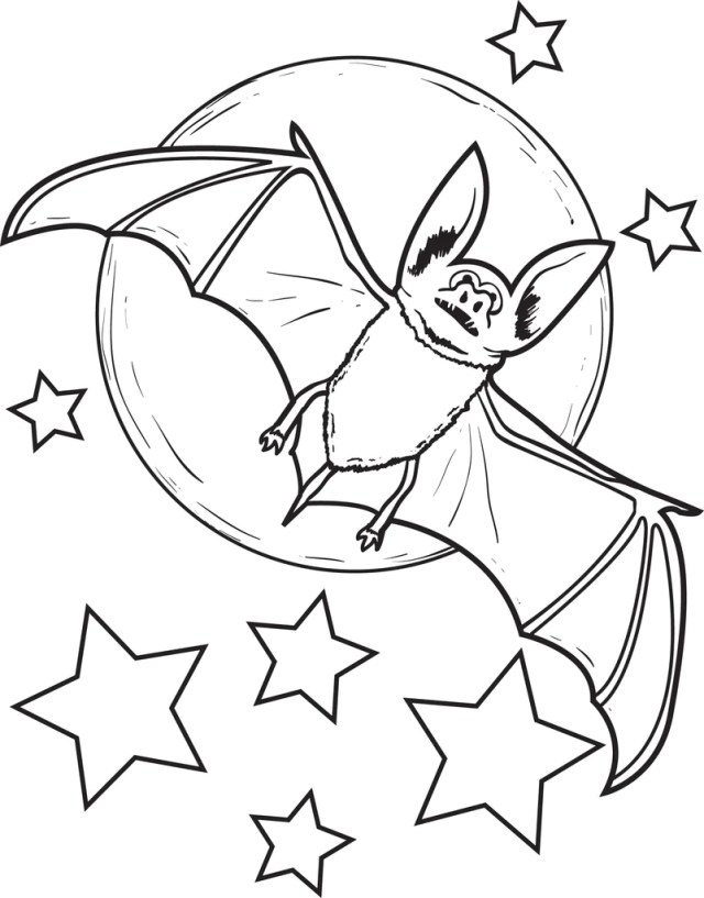 Printable Bat Coloring Page for Kids