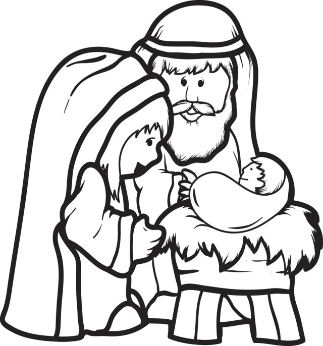 Printable Mary, Joseph, & Baby Jesus Coloring Page for Kids