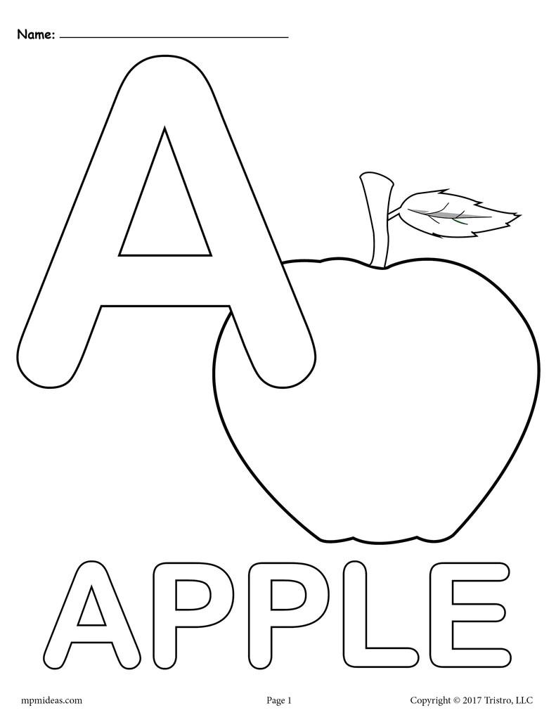 Letter A Coloring Pages 3 Printable Alphabet Coloring Pages Supplyme