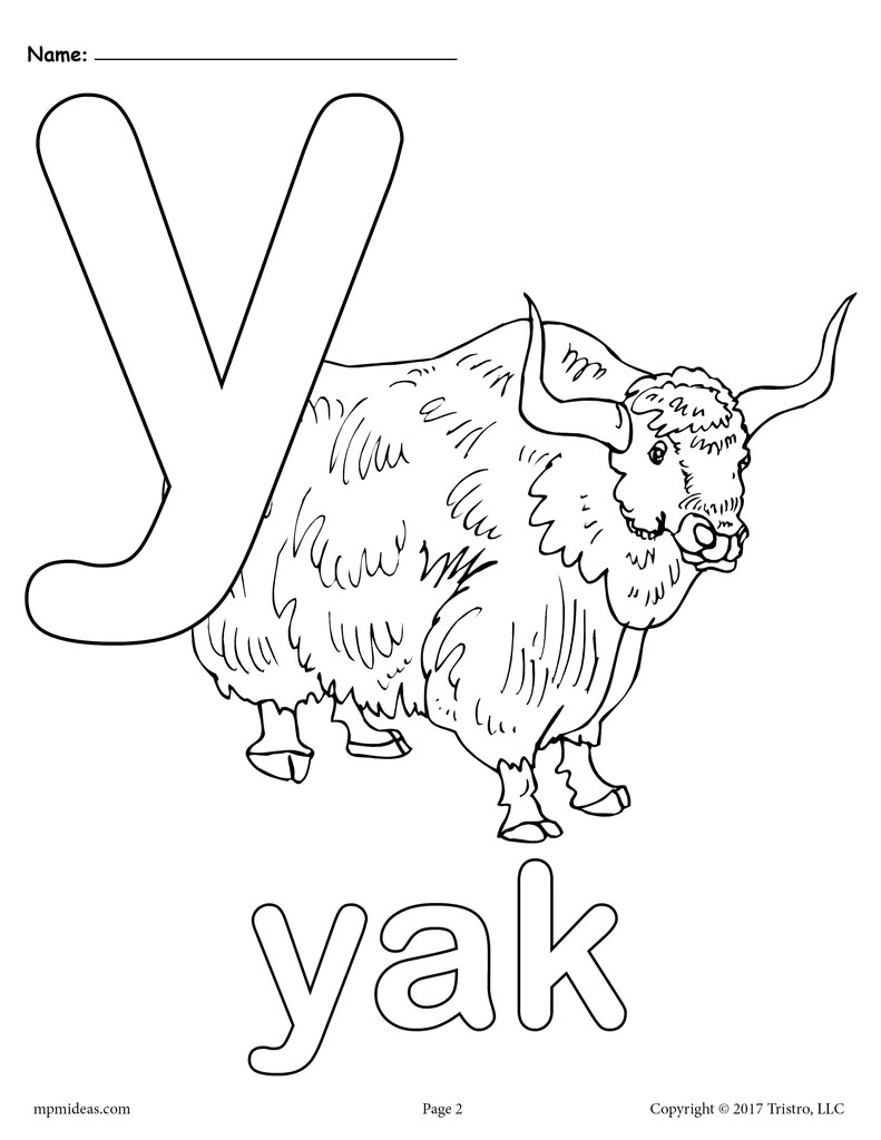 letter y alphabet coloring pages  3 free printable