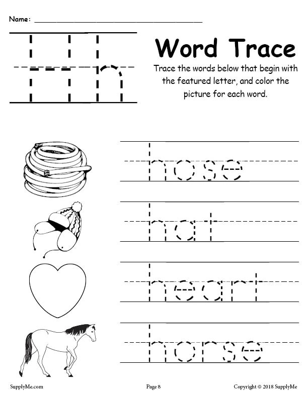 Letter H Words Alphabet Tracing Worksheet Supplyme