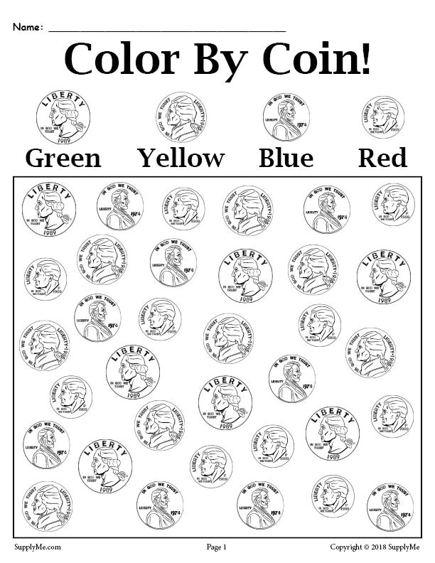 colorcoin  printable money worksheet – supplyme
