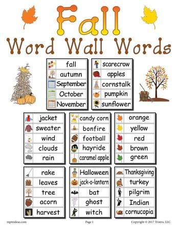 40 Fall Word Wall Words
