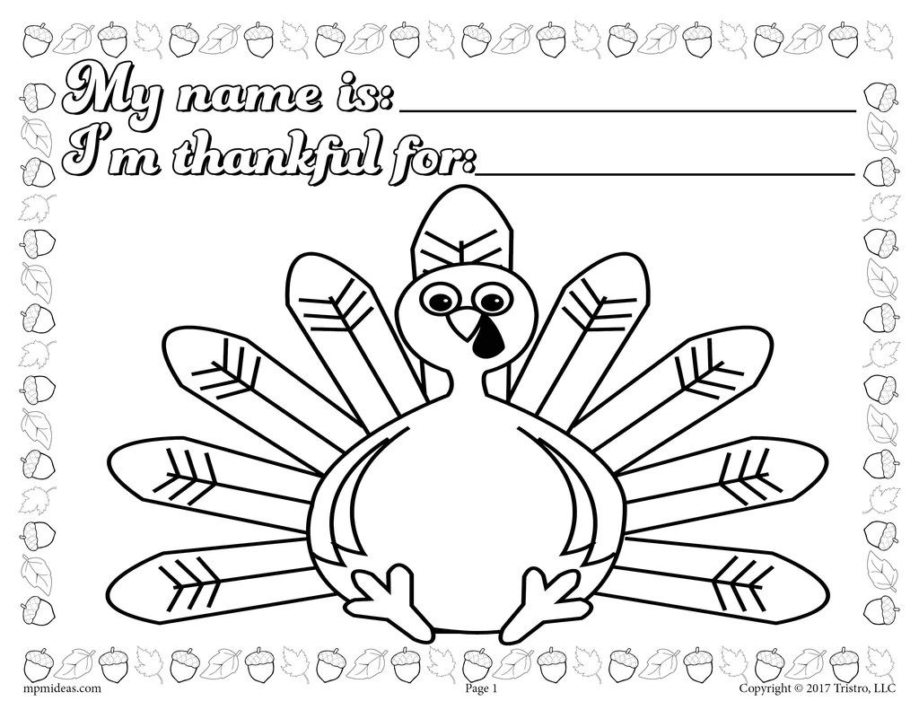 Printable Thanksgiving Coloring Page Activity For Toddlers And Prescho Supplyme