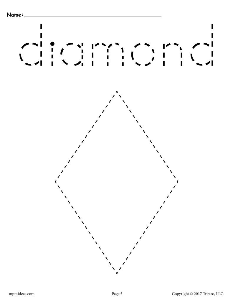 FREE Diamond Tracing Worksheet Printable Tracing Shapes