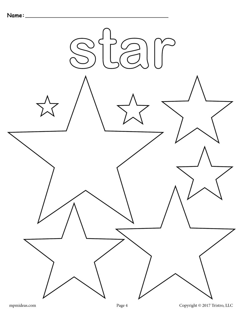 Stars Coloring Page Star Shape Worksheet Supplyme