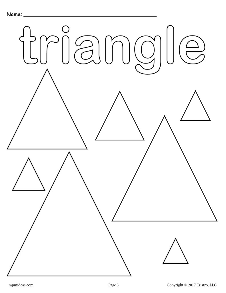 FREE Triangles Coloring Page Triangle Shape Worksheet