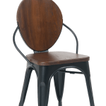 Black Metal Frame Arm Chair Walnut Seat And Back E642 Restaurant Chairs Direct Com