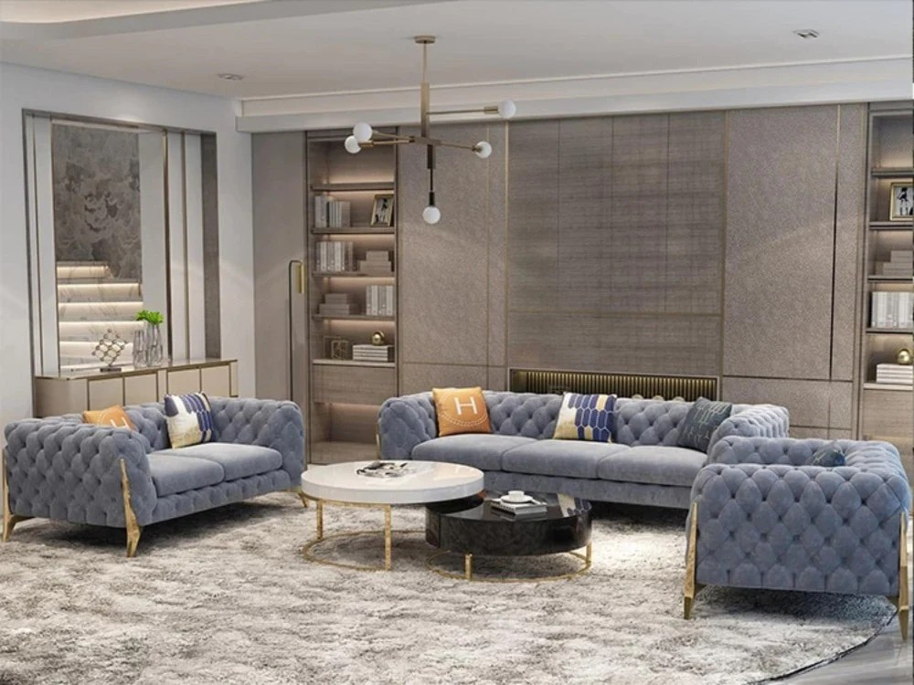 elegant button tufted grey sectional sofa