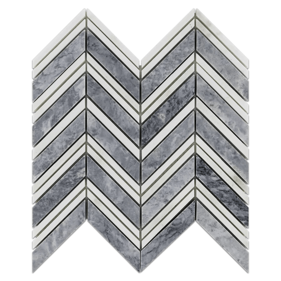 pacific gray chevron with white thassos
