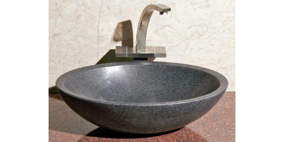 18 oval black granite vessel sink