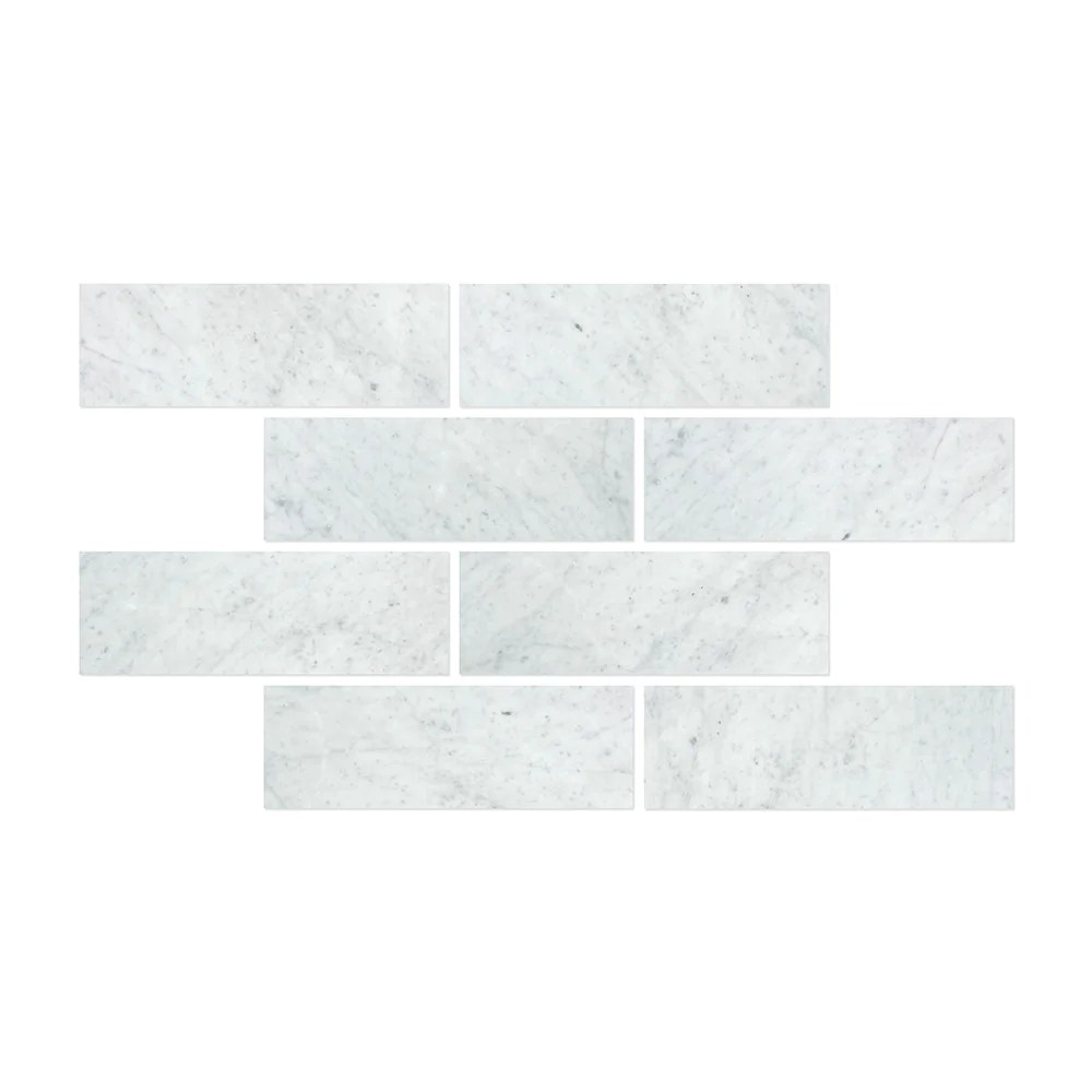 4 x 12 honed bianco carrara marble tile