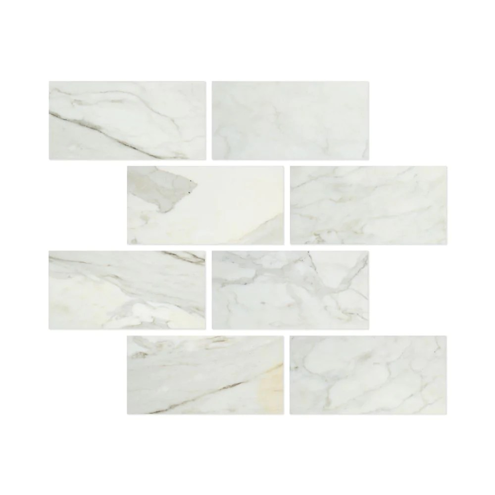 6 x 12 honed calacatta gold marble tile