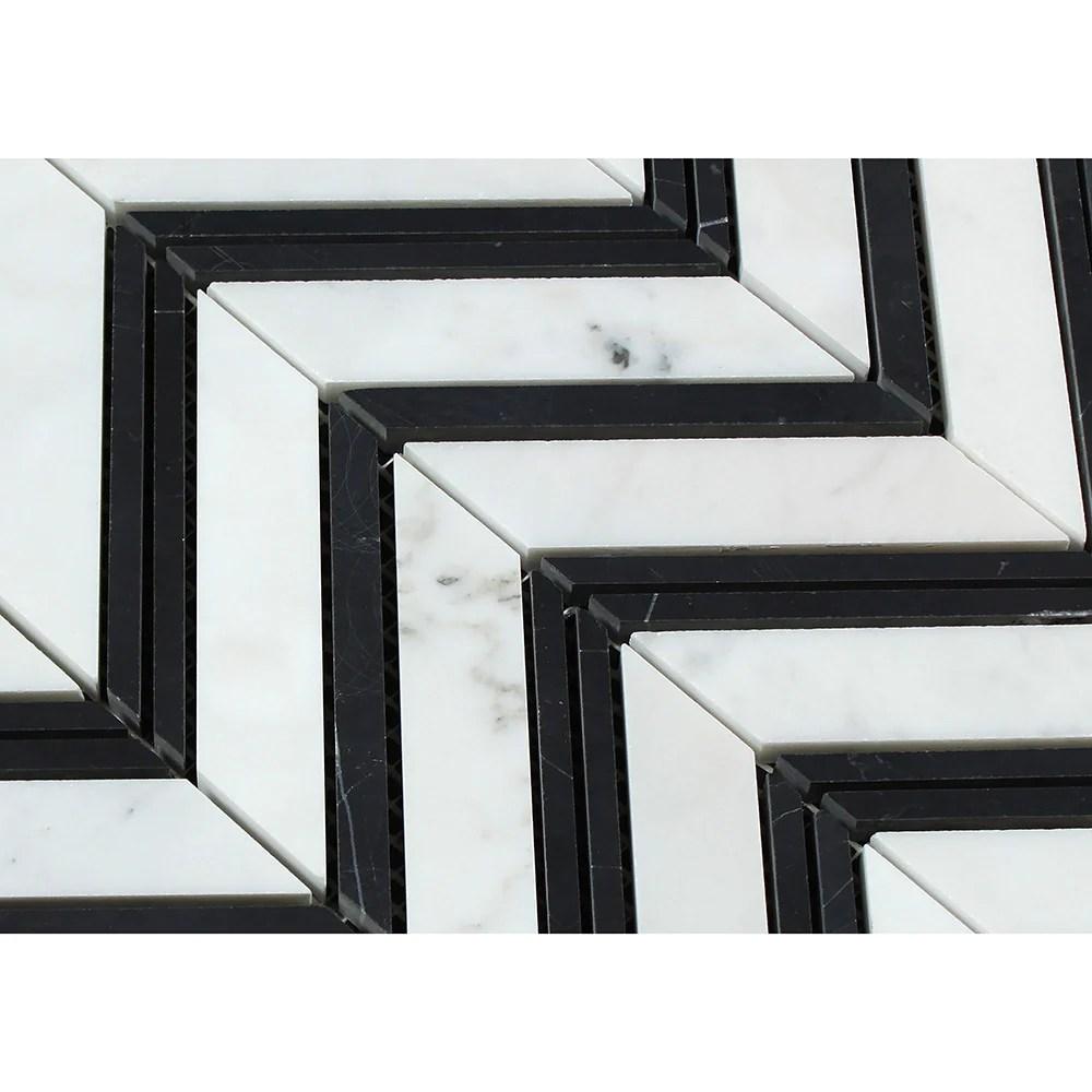 bianco carrara polished marble large chevron mosaic tile carrara black thin strips
