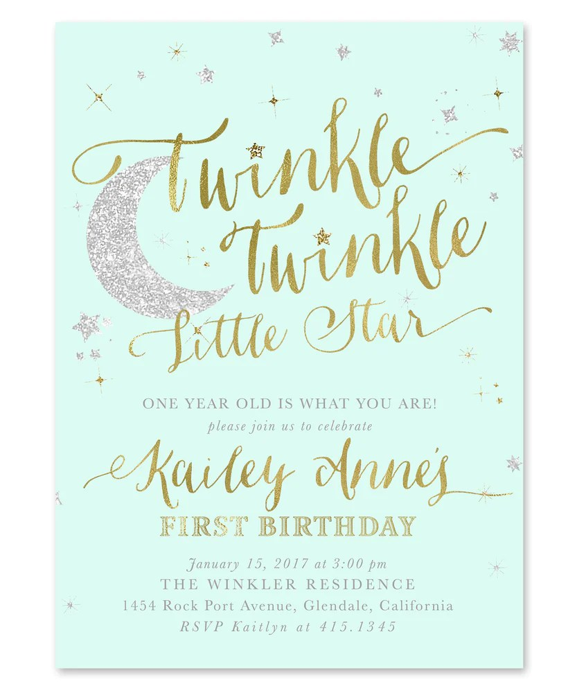 twinkle little star boy or girl birthday invitation mint green