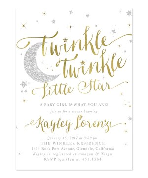 twinkle twinkle little star boy or girl baby shower invitation white