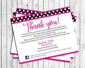 Avon Representative Thank You Note Cards Digital Printable Personalized