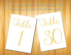 Table Numbers 1 30 Gold Script Diy Printable Table Numbers For Wedding Or Other Event