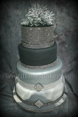 Black And Silver Marble Fondant Wedding Cake Tiffanys