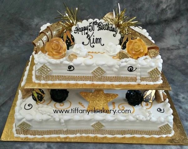 Gold Bling On 1 4 And 1 2 Sheet Cake Tiffany S Bakery