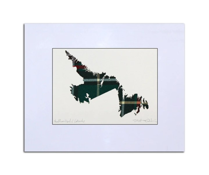 NEWFOUNDLAND and LABRADOR Tartan Map  10  x 8  Framed Unframed  Beautifully  detailed laser cut outline map overlaid on authentic Provincial tartan     NEWFOUNDLAND and LABRADOR Tartan Map  10  x 8  Framed Unframed  Beautifully