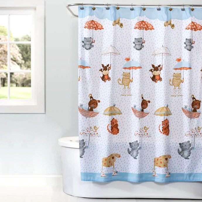 raining cats and dogs shower curtain accessories