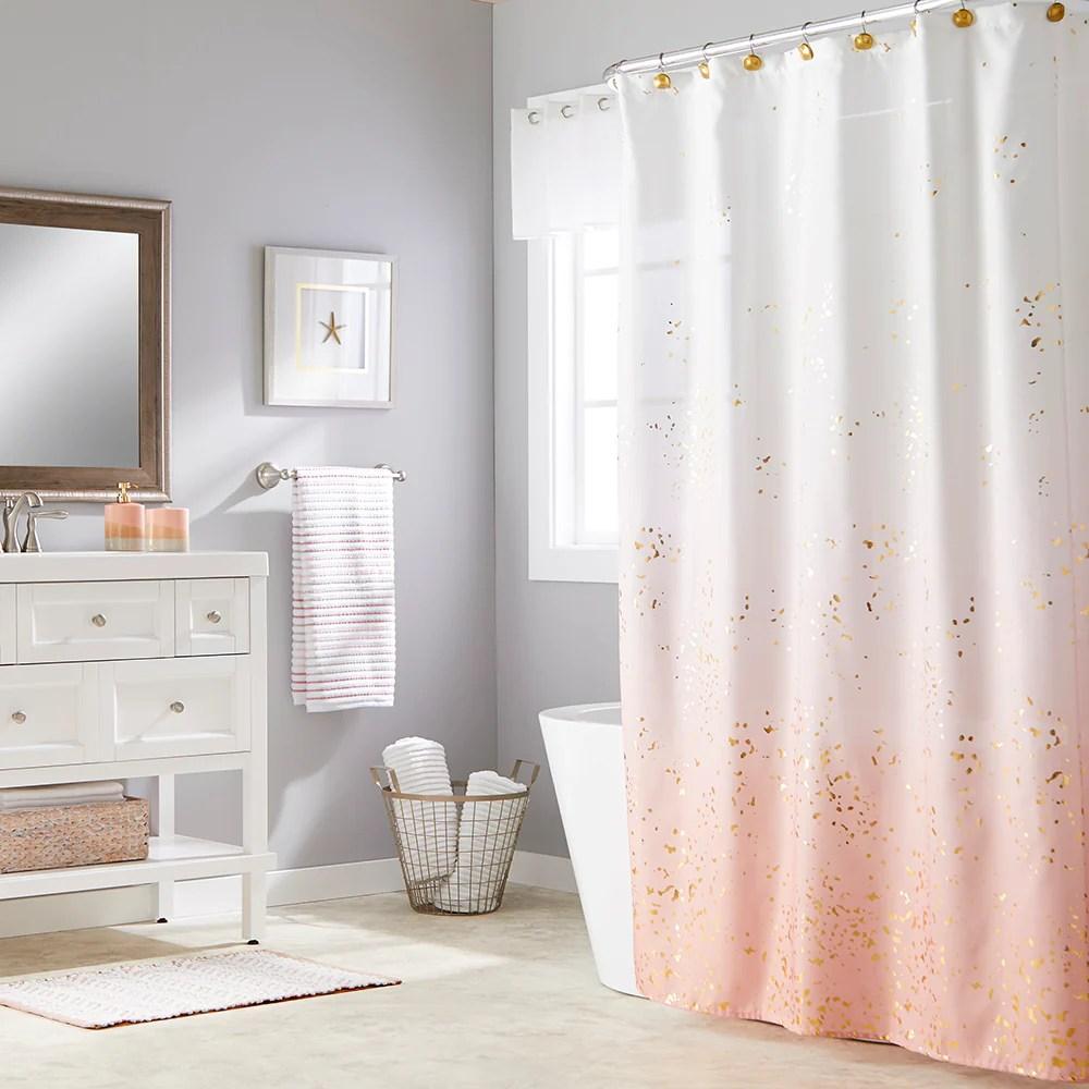 splatter blush fabric shower curtain
