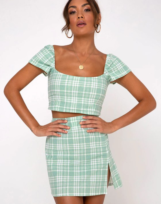 Rinka Mini Skirt in Table Cloth Neo Mint by Motel 3