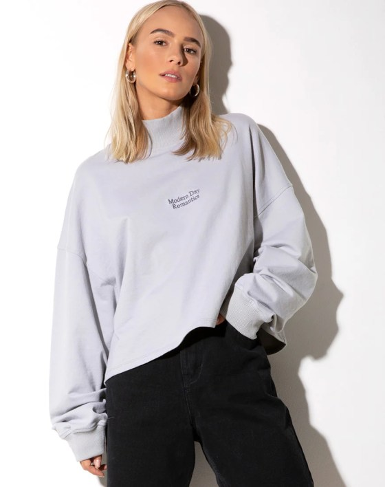 "Deca Sweatshirt in Grey ""Modern Day Romantics"" by Motel 17"
