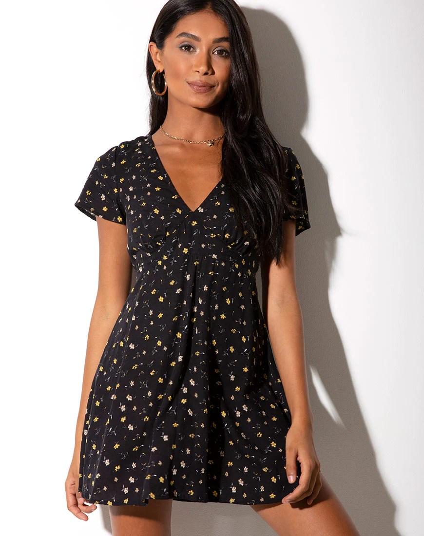 Elara Dress in Pretty Petal Black by Motel 7