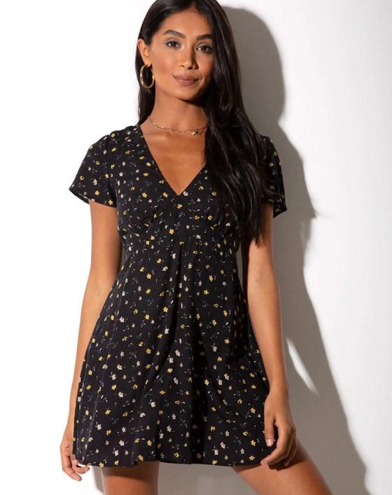 Elara Dress in Pretty Petal Black by Motel 5