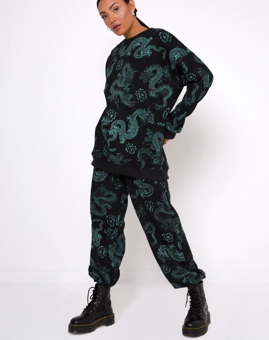 Basta Jogger in Dragon Flower Black and Mint by Motel 1