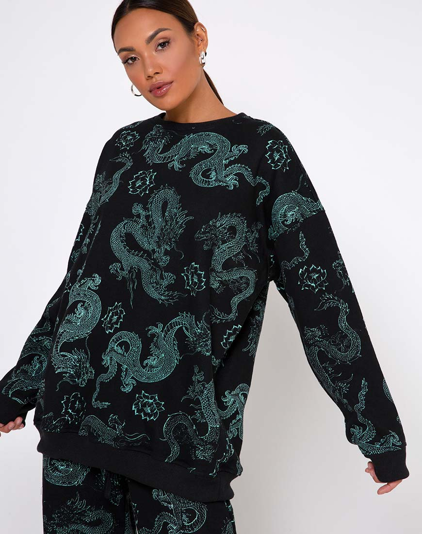 Glo Sweatshirt in Dragon Flower Black and Mint by Motel 10