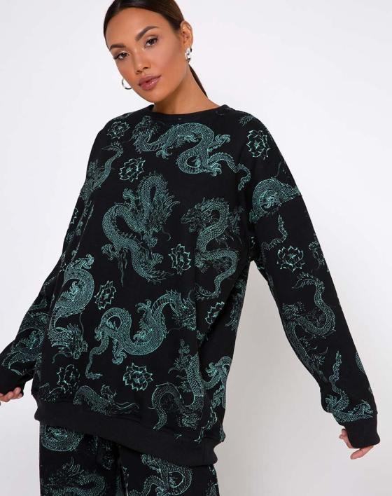 Glo Sweatshirt in Dragon Flower Black and Mint by Motel 8
