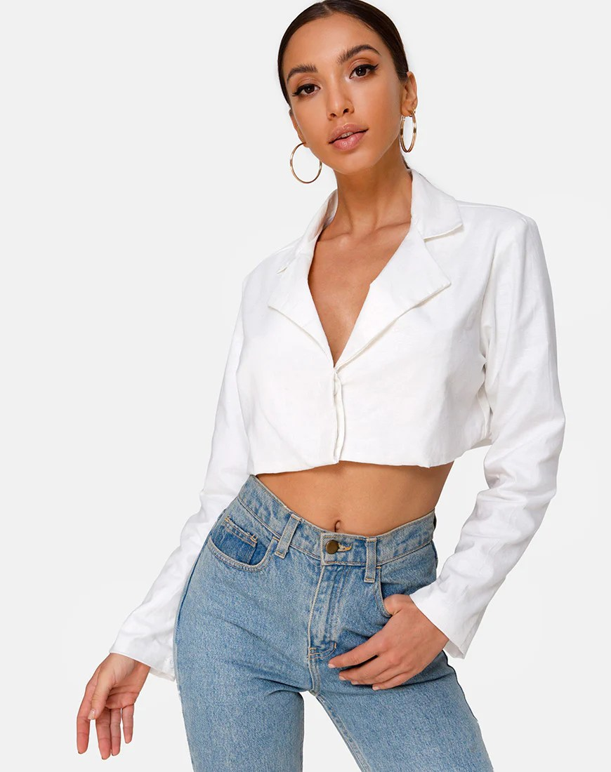 Noly Cropped Blazer in Ivory by Motel 9