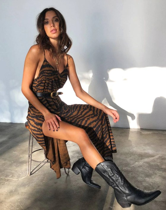 Hime Maxi Dress in Animal Drip Brown by Motel 22
