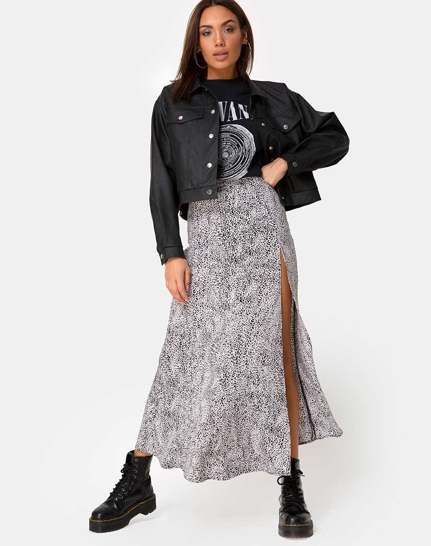 Shayk Midi Skirt in Leo Spot Black and White by Motel 10