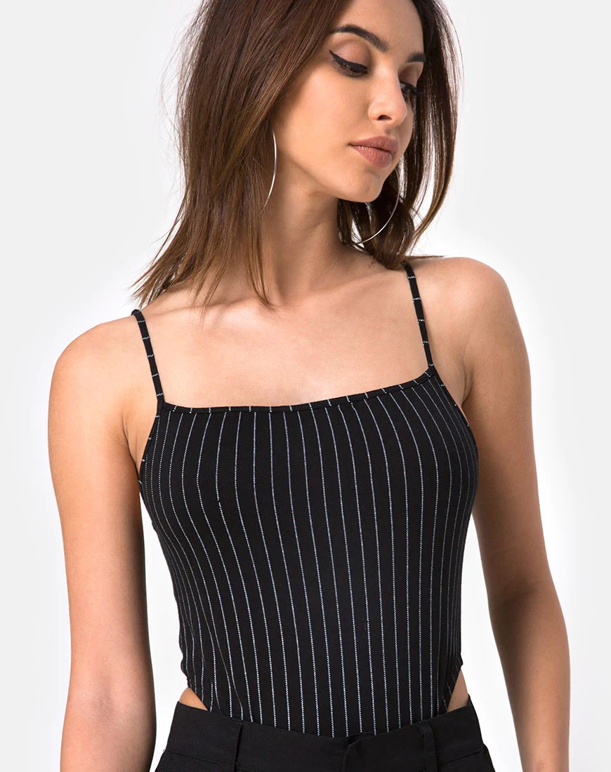 Solemo Bodice in Pinstripe Black by Motel 1