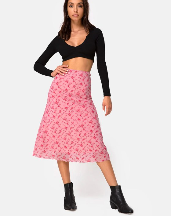 Taura Skirt in Love Bloom Pink Flock by Motel 7