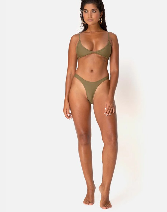 Valda Bikini Bottom in Matte Khaki by Motel 1