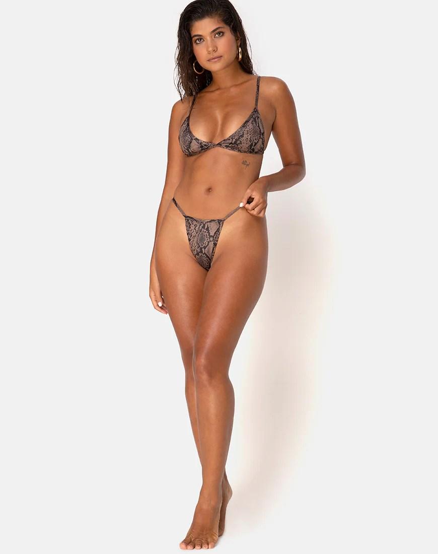 Valter Bikini Bottom Bikini in Snake Taupe by Motel 18