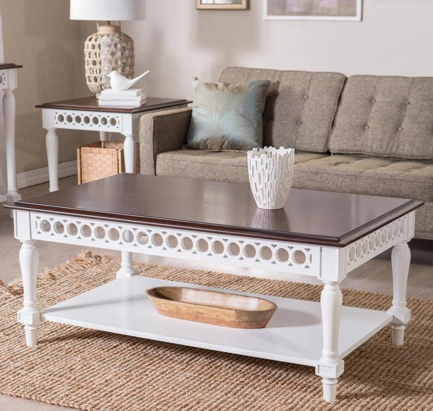 two tone white walnut coffee table