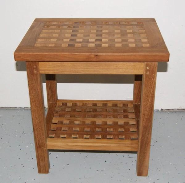 Teak Checkerboard Shower Bench