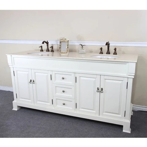bellaterra home 72 cream white wood double sink vanity set 205072 d cr