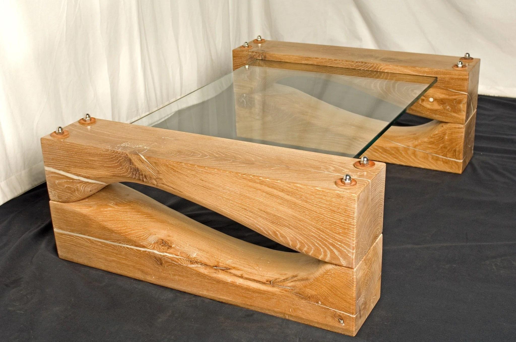 sea shapes oak glass coffee table
