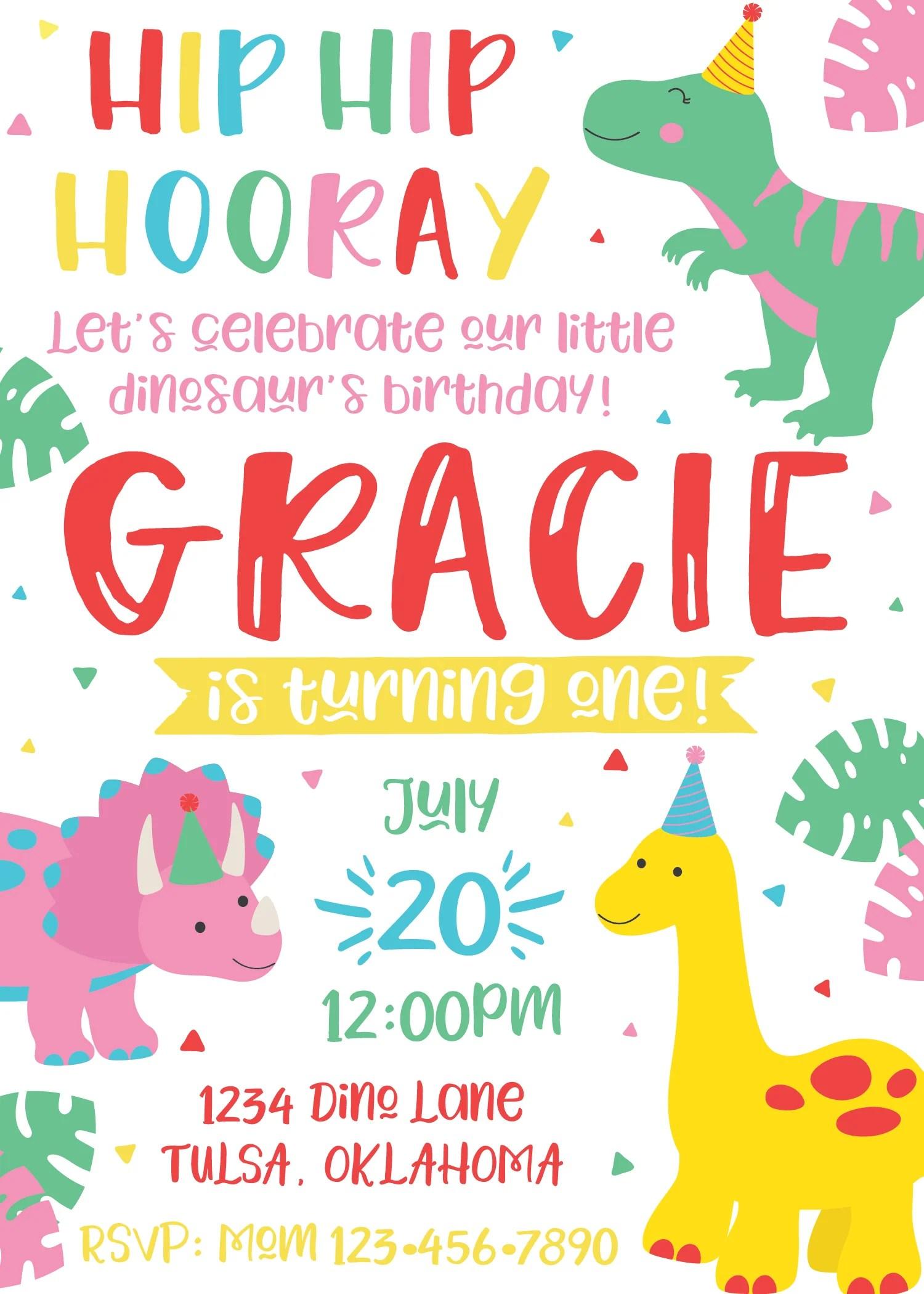 pink girl dinosaur birthday party invitation