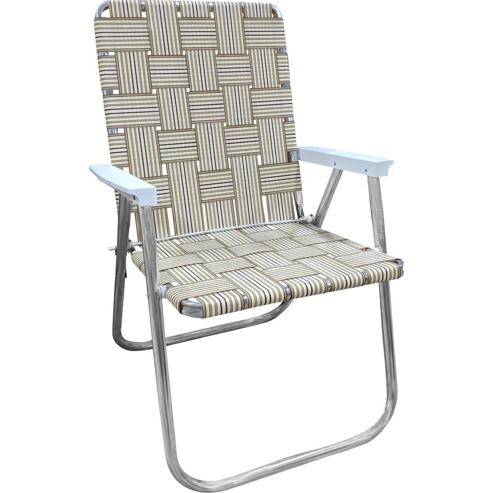 tan stripe classic lawn chair