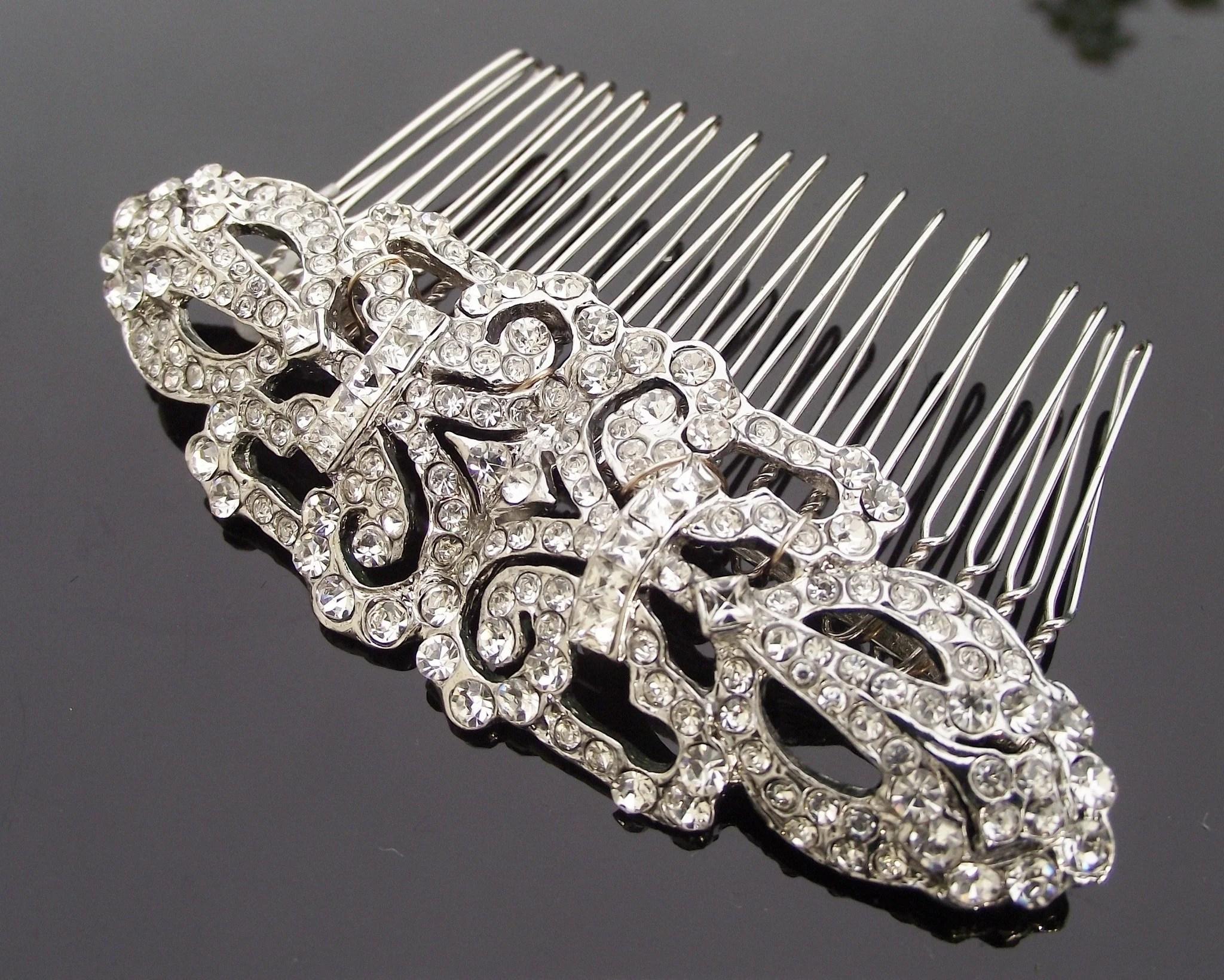 wedding hair combs art deco style crystal encrusted wedding hair comb ellen c