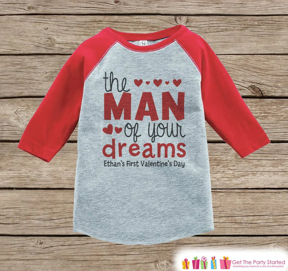 Boys First Valentines Day Outfit Red Raglan Shirt Boy