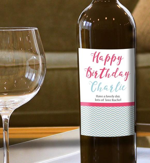 Personalised Happy Birthday Wine Bottle Label Print My Words